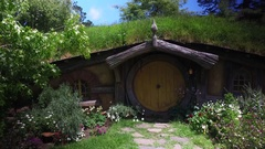 Yellow Front Door Hobbit Hole Lord Of The Rings New Zealand Stock Footage