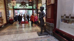 Boy Blowing Bubbles Statue The Block Shopping Arcade Melbourne Australia Stock Footage