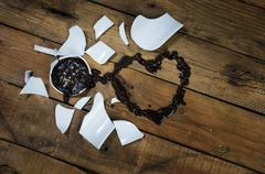 Heart Valentine coffee broken cup. Stock Photos