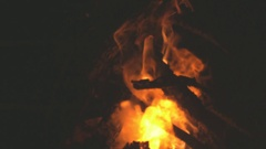 Campfire With Black Powder Sparking and Exploding in Slow Motion Stock Footage