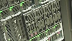 Server Rack of Hard Drives Stock Footage