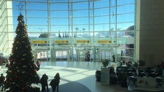 Lisbon Airport Main Entrance With Christmas Tree, Portugal Stock Footage
