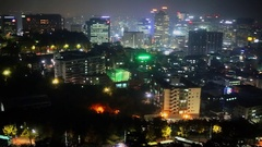 Panorama of urban sector with illumination at autumn evening Stock Footage