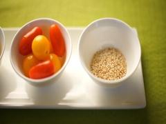 Ingredients for pumpkin salad, tomatoes, pumpkin, sesame. Pumpkin is beautifully Stock Footage