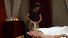 Beautiful oil massage in the hand area Stock Footage
