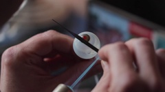 Eye prosthesis glass production Stock Footage