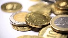 A pile of coins close-up Stock Footage