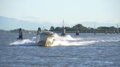 Motoscafi Speed Across Venice Lagoon Stock Footage