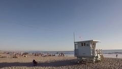 Lifeguard house in Santa Monica beach Stock Footage