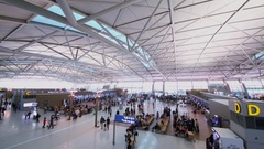 Large hall of Inchhon airport with many travelers in Seoul. Stock Footage