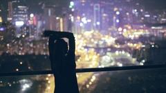 Happy Girl on the Roof at Night Stock Footage