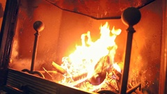 Home interior fireside Stock Footage