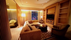 Light switching at sitting room in apartments of IFC Residence hotel Stock Footage