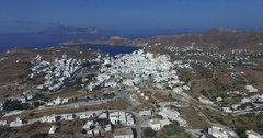 Flight over the town of Ios island, Cyclades, Greece. Stock Footage