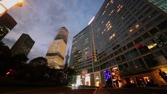 Exterior of skyscrapers and Oriental Pearl TV tower at evening Stock Footage