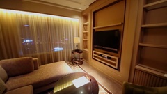 Panorama of IFC Residence hotel apartment with sitting room and cabinet Stock Footage