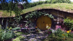 Yellow Front Door Hobbit Hole House Lord Of The Rings New Zealand 4K Stock Footage