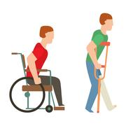 Trauma accident wheelchair safety vector people silhouette Stock Illustration