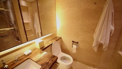 Panorama of bathroom in apartments of IFC Residence hotel Stock Footage