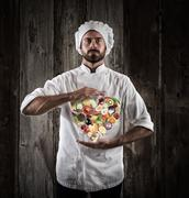 Chef healthy cooking Stock Photos
