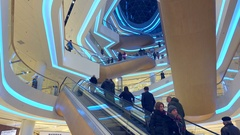 Shopping center modern futuristic interior with lots of escalators Stock Footage
