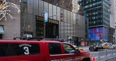 Heavy Police Presence Guarding Trump Tower on 5th Avenue in Manhattan   Stock Footage