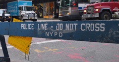 New York Police Barricade Blocks Street Near Trump Tower  	 Stock Footage