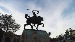 El Cid Campeador Statue By Anna Huntington Zoom- San Diego Balboa Park Stock Footage