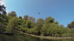 Drone landing on hands in kayak Stock Footage