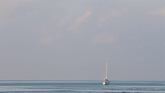 Yacht anchored in the blue sea. Stock Footage
