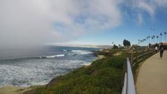 La Jolla California Coastline With Fog Rolling Ashore 4K Stock Footage