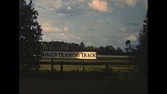 Vintage 16mm film, 1949 South Carolina, Aiken training track, equestrian Stock Footage