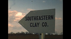 Vintage 16mm film, 1949 South Carolina, SE Clay co sign and pit Stock Footage