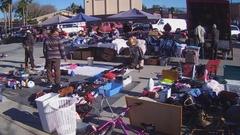 People Shopping At An Outdoor Swap Meet Flea Market - Whittier CA Stock Footage