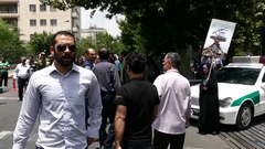 Iran Police cars in the street during international Quds day Stock Footage