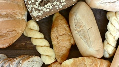 HD Dolly, top view of various breads and baked goods. Stock Footage