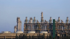 Oil refinery industrial plant with sky, Thailand Stock Footage