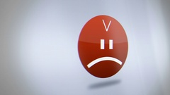 Digital Angry Frownie Avatar on Phone Screen close up Stock Footage