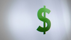 Digital Dollar Sign on Phone Screen close up Stock Footage