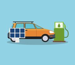 Car solar panel and bio fuel design Stock Illustration