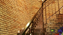 Caucasian Guy Go Upstairs Back Downstairs against Brick Wall Stock Footage