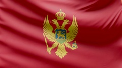 Realistic beautiful Montenegro flag 4k Stock Footage