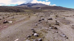 Flying over a boulder field on the lower slopes of Cotopaxi Volcano Stock Footage