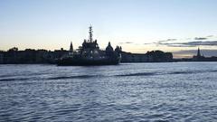 Venice Giudecca Canal Tugboat at Daybreak Stock Footage