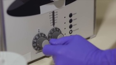 Dentist dental instrument lays in the box for sterilization Stock Footage