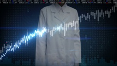 Female researcher engineer touched Stock Market charts, graphs. Increase line. Stock Footage