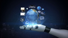 Robot arm, infotainment system, network. connect internet, social media service. Stock Footage