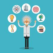 Colorful Einstein and science design Stock Illustration