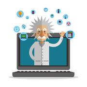 Colorful Einstein and laptop design Stock Illustration