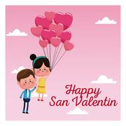 Happy san valentine card couple branch balloons pink sky Piirros